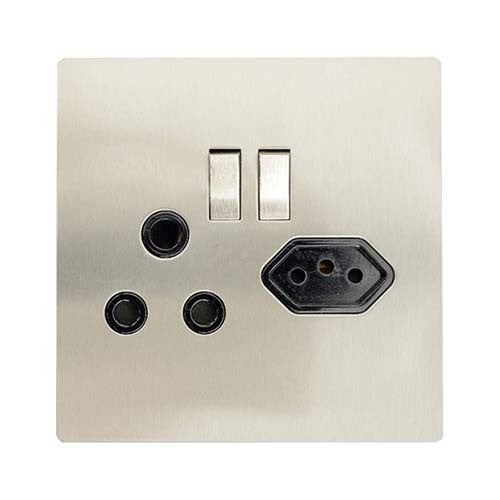 Cbi Stainless Steel Single Switched Slimline Combo Socket