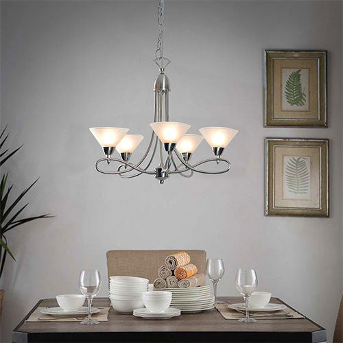 Eurolux Martini Twist 5 Light Up Facing Chandelier