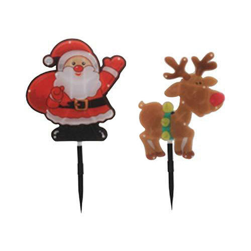 Eurolux LED Santa Reindeer Garden Spikes 4Pc