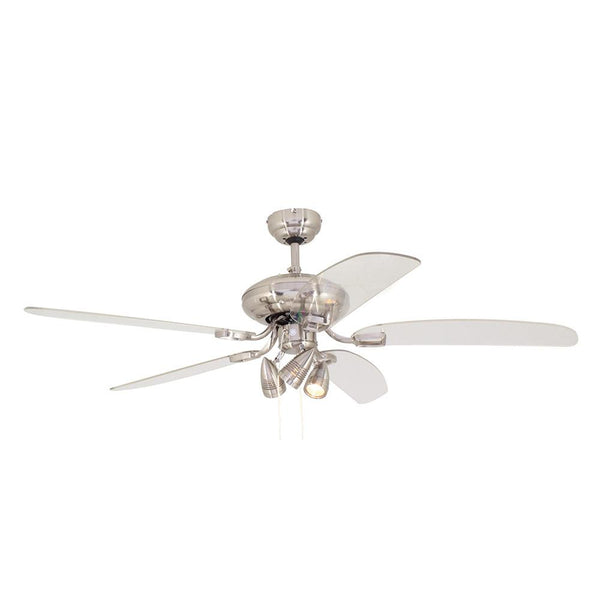 "Eurolux 52"" 5 Blade Tempo Ceiling Fan with Lights - Satin Chrome"