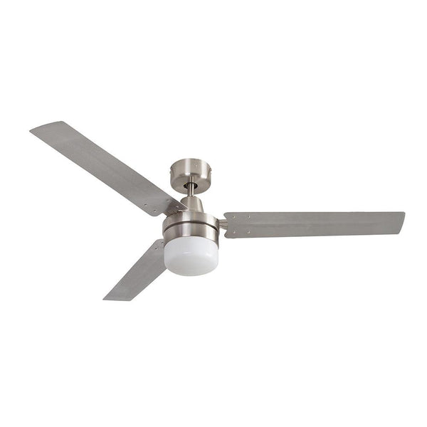 "Eurolux 54"" 3 Blade Industrial Ceiling Fan with Light Kit - Stainless Steel"