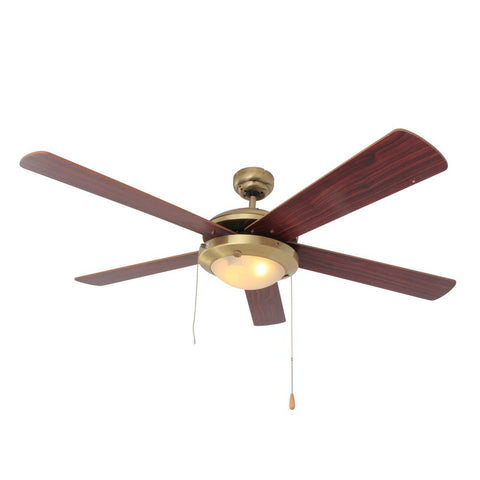 "Eurolux 52"" 5 Blade Comet Ceiling Fan with Light - Cherry Wood / Antique Brass"
