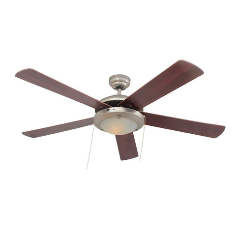 "Eurolux 52"" 5 Blade Comet Ceiling Fan with Light - Cherry Wood / Satin Chrome"