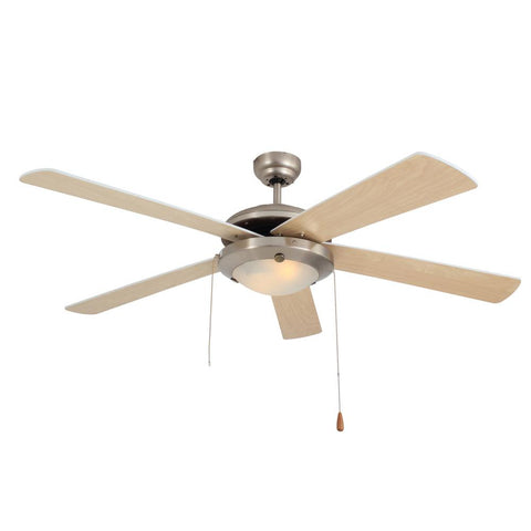 "Eurolux 52"" 5 Blade Comet Ceiling Fan with Light - Natual Wood / Satin Chrome"