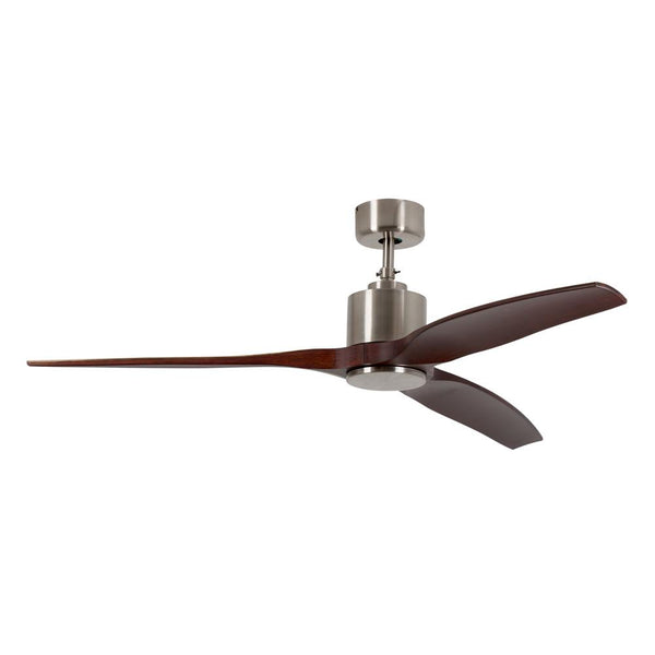 "Eurolux 52"" 3 Blade Ceiling Fan - Dark Wood / Satin Chrome"