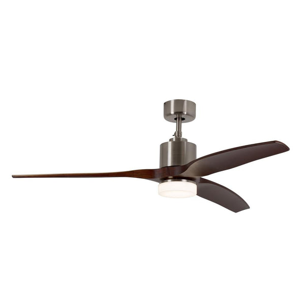 "Eurolux 52"" 3 Blade Ceiling Fan with LED Light - Dark Wood / Satin Chrome"