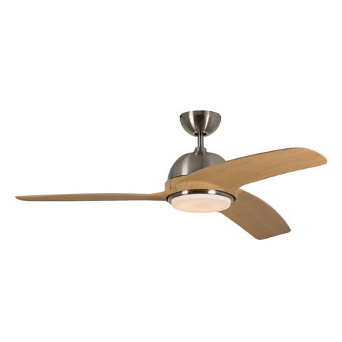 "Eurolux 52"" 3 Blade Ceiling Fan with LED Light - Light Wood / Satin Chrome"