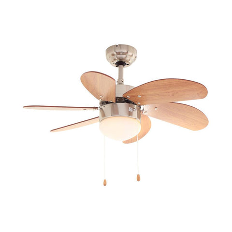 "Eurolux 30"" 6 Blade Turbo Swirl Ceiling Fan with Light - Cherry Wood / Satin Chrome"