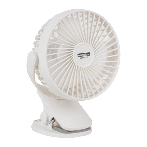 Eurolux Portable Rechargeable Mini Clip-on Fan