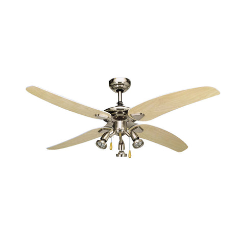 "Bright Star 50"" 4 Blade Ceiling Fan with Lights - Satin Chrome"