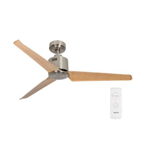 "Bright Star 52"" 3 Blade Ceiling Fan - Brown Wood / Satin Nickel"