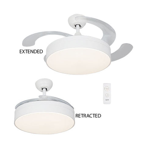 Bright Star White Ceiling Fan with Light and Retractable Blades