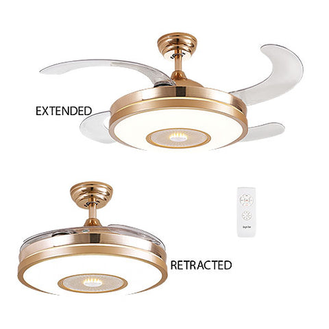 "Bright Star 42"" 4 Retractable Blade Ceiling Fan with LED Light and Remote - Gold"