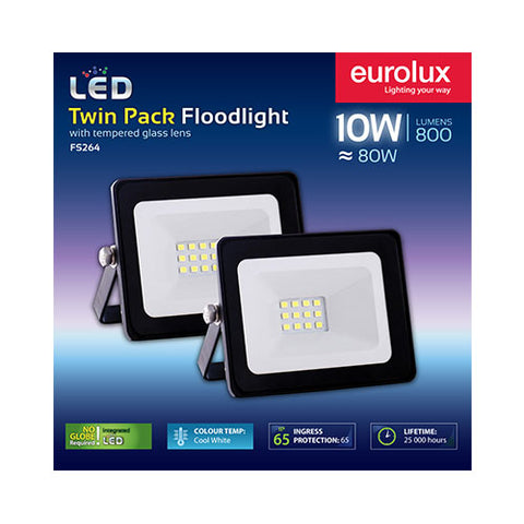 Eurolux LED Floodlight 10W Cool White - Twin Pack