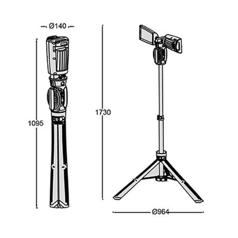 Lutec Peri Portable LED Tripod Worklight 92W