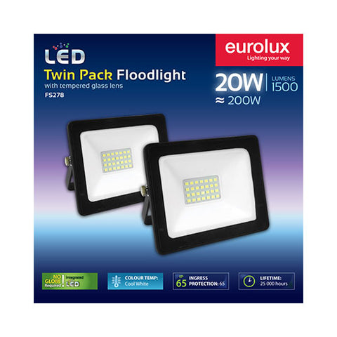 Eurolux LED Floodlight 20W Cool White - Twin Pack