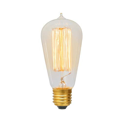 Eurolux E27 60W Pear Shaped Squirrel Cage With Nipple Carbon Filament Bulb