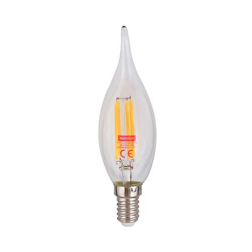 Eurolux E14 4W LED Clear Filament Flame Candel