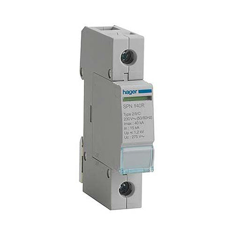 Hager 40kA 1 Pole Class 2 Surge Arrester with Remote Signalling Contact