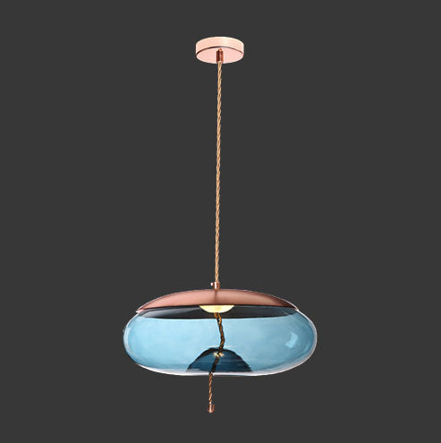 K. Light LED Pebble Pendant - Copper with Blue Glass & Rope