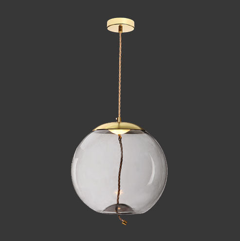 LED Orb Pendant - Gold with Smoked Glass & Rope