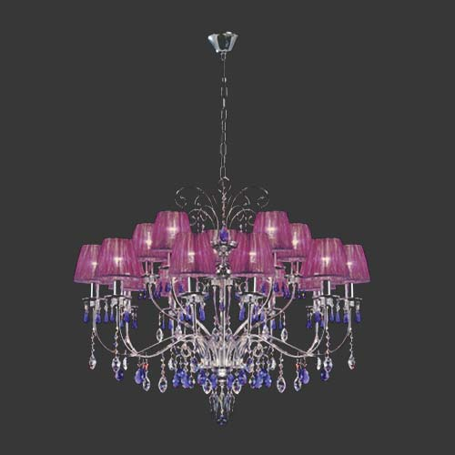 K. Light Large Swarovski Crystal Chandelier with Violet Silk Shades