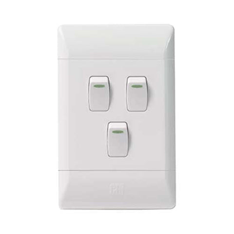 CBi PVC 3 Lever 1 Way Light Switch L124-P