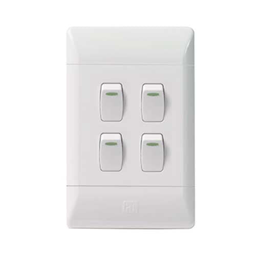 CBi PVC 4 Lever 1 Way Light Switch L125-P
