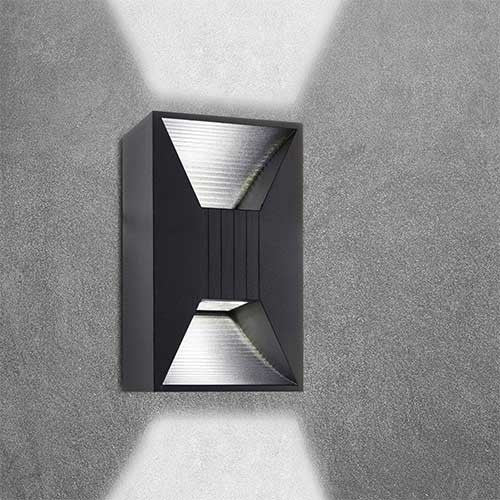 Bright Star Up/Down Facing Die Cast Aluminium Wall Light L291 BLACK