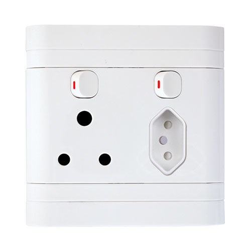 Lesco Cover Strip Monobloc Double Switched Socket 1X16A