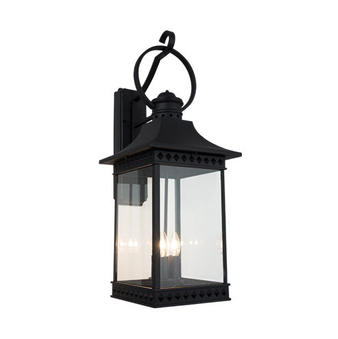 Down Facing Aluminium Lantern with Clear Glass - Black