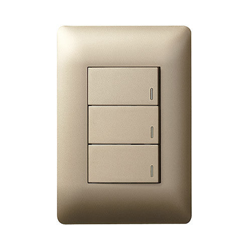 Legrand Ysalis 3 Lever Switch - Champagne PY324CHA