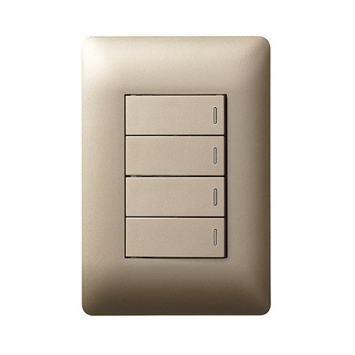 Legrand Ysalis 4 Lever Switch 1 x 2 Way - Champagne PY4224CHA