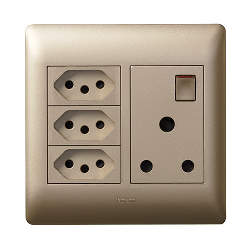 Legrand Ysalis Single Socket Vertical 3 X Slimline Champagne