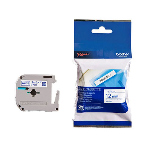 Brother MK Non-Laminated Tape Blue/White 12mm x 8m