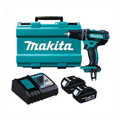 Makita Cordless Driver Drill Kit DHP482RFE 13mm 18V with 2 X 3.0Ah Batteries