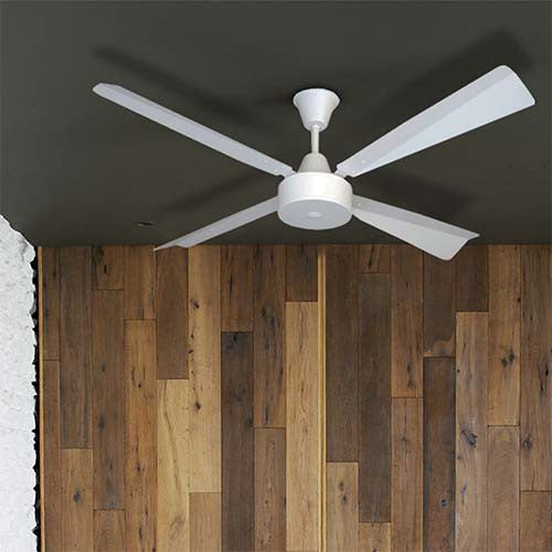Solent Brushed Aluminium 4 Blade 1400 Ceiling Fan - Matt White