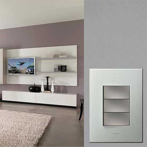 Legrand 3 Lever Switch Pearl Aluminium