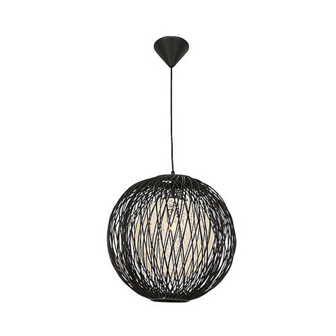 Bright Star Black Outer Bamboo Cover with Natural Inner Twine Pendant