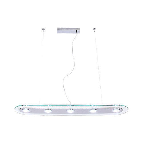 Polished Chrome 5 LED Pendant With Clear Glass