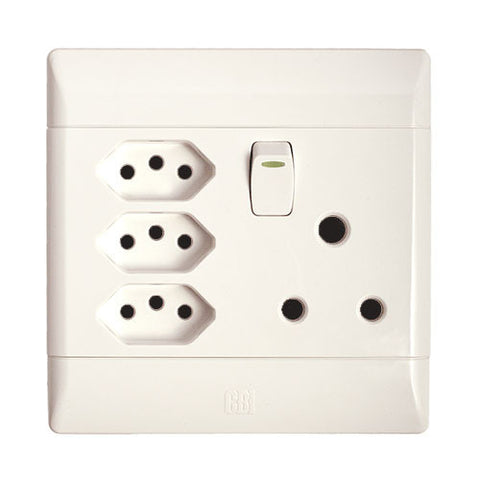 Cbi Single Switched Socket With 3 Slimline Sockets
