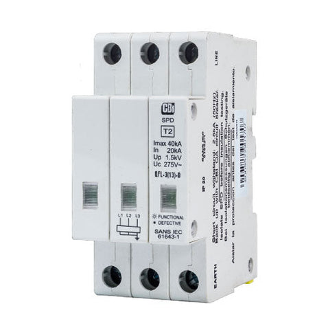 CBi DIN Rail Surge Protector QFL-3(13)D 3P 275V with Indication - 10kA