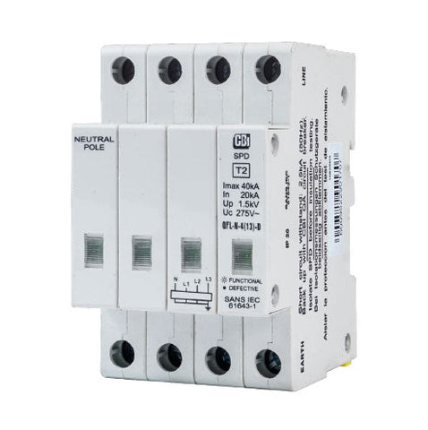 CBi DIN Rail Surge Protector QFLN-4(13)D 3P+N 275V with Indication - 10kA