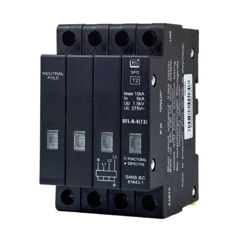 CBi Mini Rail Surge Protector QFLN-4(13) 3P+N 275V with Indication - 10kA