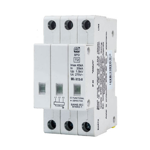 CBi DIN Rail Surge Protector QFL-3(13)D 3P 275V with Indication - 40kA