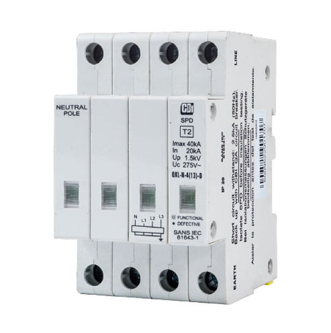 CBi DIN Rail Surge Protector QFLN-4(13)D 3P+N 275V with Indication - 40kA