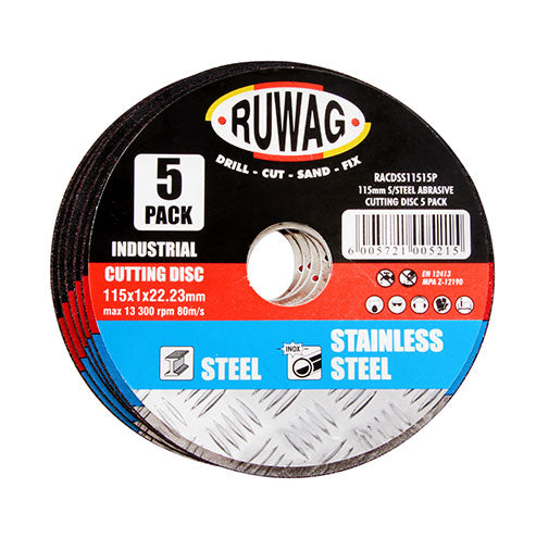 Ruwag Stainless Steel Abrasive 115mm Cutting Disc 5 Pack