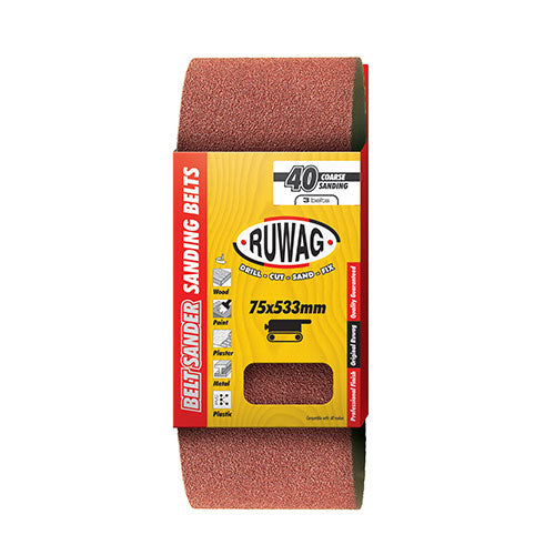 Ruwag P100 Sanding Belt 75 x 533mm 3 Pack
