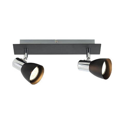 Bright Star Polished Chrome & Matt Black 2 Light Spotlight