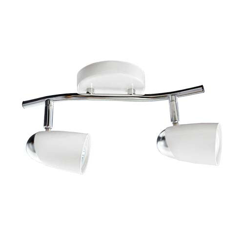 Bright Star White and Polished Chrome Double Spotlight